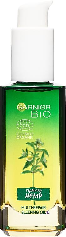 Ночное масло с эфирным маслом конопли для восстановления истощенной чувствительной кожи лица - Garnier BIO Repairing Hemp