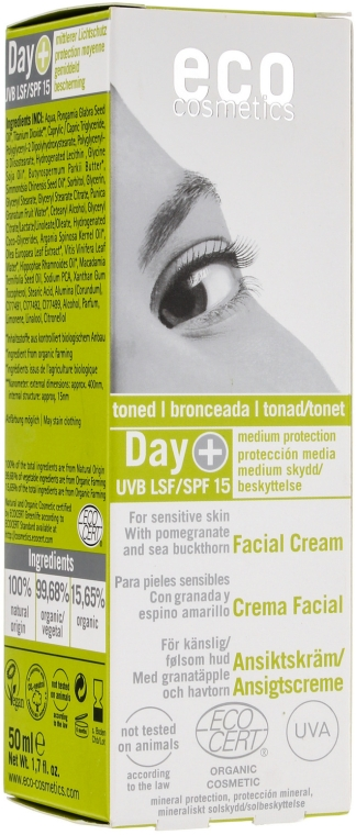 Дневной крем для лица SPF 15 с оттенком загара - Eco Cosmetics Facial Cream SPF 15 Toned