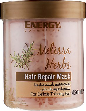 Восстанавливающая маска для тонких волос и чувствительной кожи головы с экстрактом мелиссы - Energy Cosmetics Melissa Herbs Hair Repair Mask