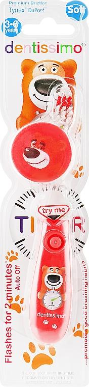 Детская зубная щетка (от 3 до 6 лет) мягкая щетина, красная - Dentissimo Kids Timer