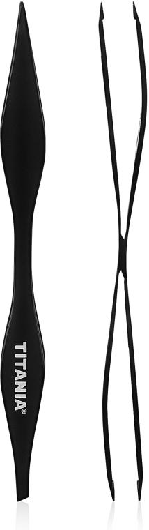 Пинцет косметический, двойной, черный - TITANIA
