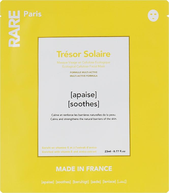 Успокаивающая маска для лица с витамином Е и экстрактом арники - RARE Paris Tresor Solaire Ecological Cellulose Facial Mask