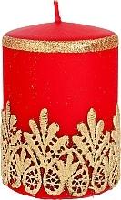 Духи, Парфюмерия, косметика Декоративная кружевная свеча, красная, 7x10 см - Artman Lace Christmas
