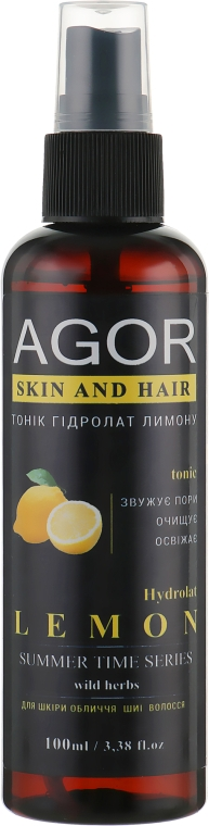 "Тоник ""Гидролат лимона"" - Agor Summer Time Skin And Hair Tonic"