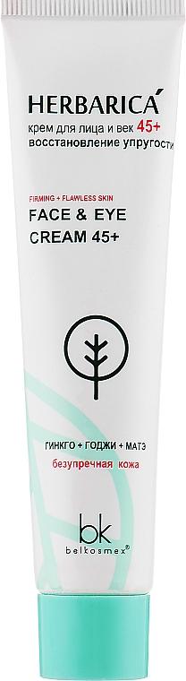 Крем для лица и век 45+ восстановление упругости - Belkosmex Herbarica Firming+Flawless Skin Face & Eye Cream 45+