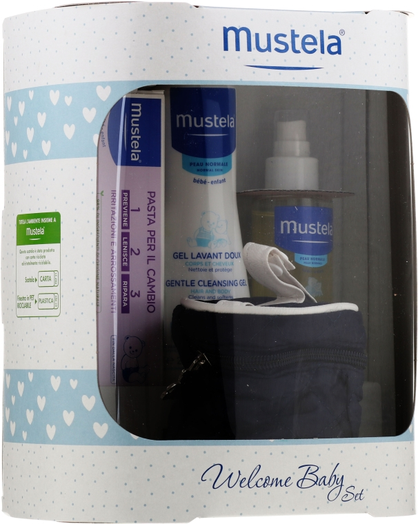 Набор - Mustela Welcome Baby Set Blue (b/gel/200ml + b/cr/50ml + b/oil/100ml + case)