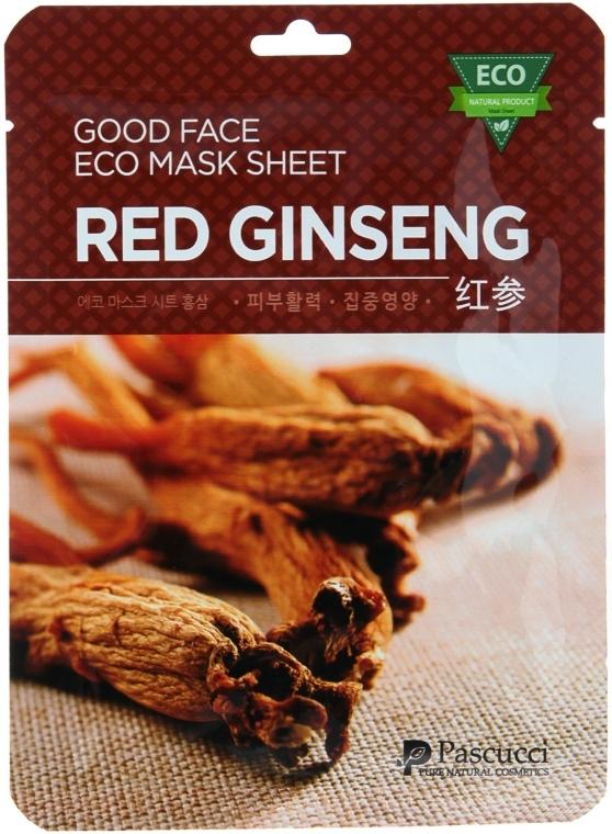 Маска для лица с экстрактом женьшеня - Amicell Pascucci Good Face Eco Mask Sheet Pomegranate