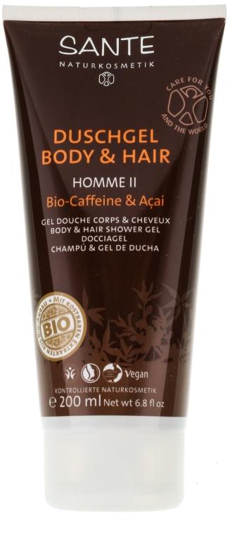 "Шампунь для волос и тела для мужчин ""Кофеин и ягоды асаи"" - Sante Men Care Homme II Body & Hair Shower Gel Organic Caffeine & Acai"