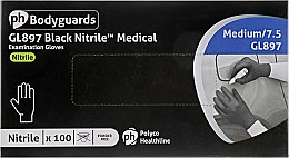 Духи, Парфюмерия, косметика Перчатки нитриловые, без пудры, черные, средние/7.5 - Eurostil GL897 Black Nitrile Medium Gloves