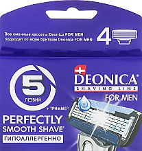Сменные кассеты для бритья, 5 лезвий, 4 шт. - Deonica For Men — фото N1
