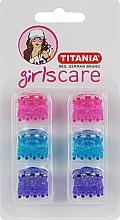 Духи, Парфюмерия, косметика Зажим для волос пластмассовый зубчатый, маленький, 6 шт, 2 см, разноцветный - Titania