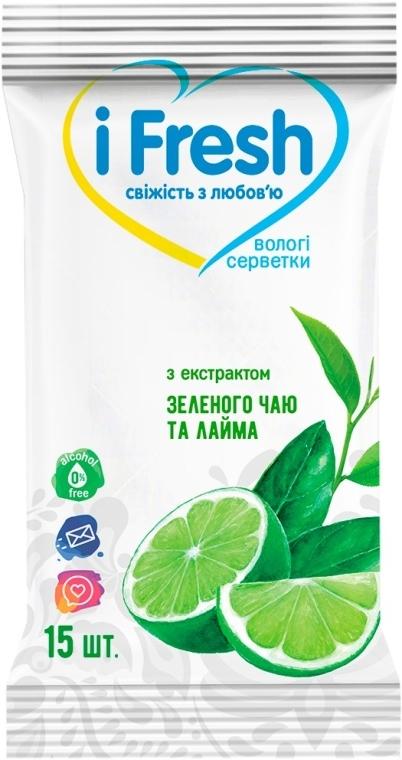 Влажные салфетки c экстрактом зеленого чая и лайма - IFresh