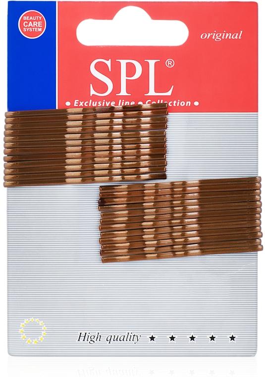 Невидимки для волос фрезерованные, 50 мм, коричневые - SPL
