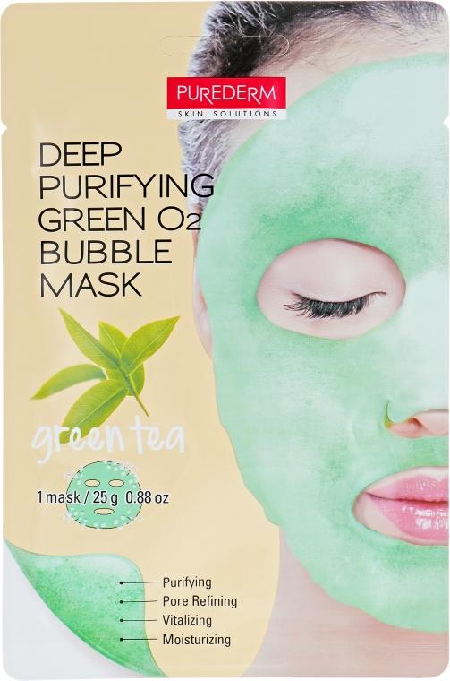"""Очищающая пенящаяся маска """"Зеленый чай"""" - Purederm Deep Purifying Green O2 Bubble Mask Green Tea"""