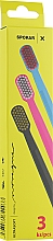 "Духи, Парфюмерия, косметика Набор зубных щеток ""X"", ультрамягких, сине-розовая+розово-белая+черно-желтая - Spokar X"
