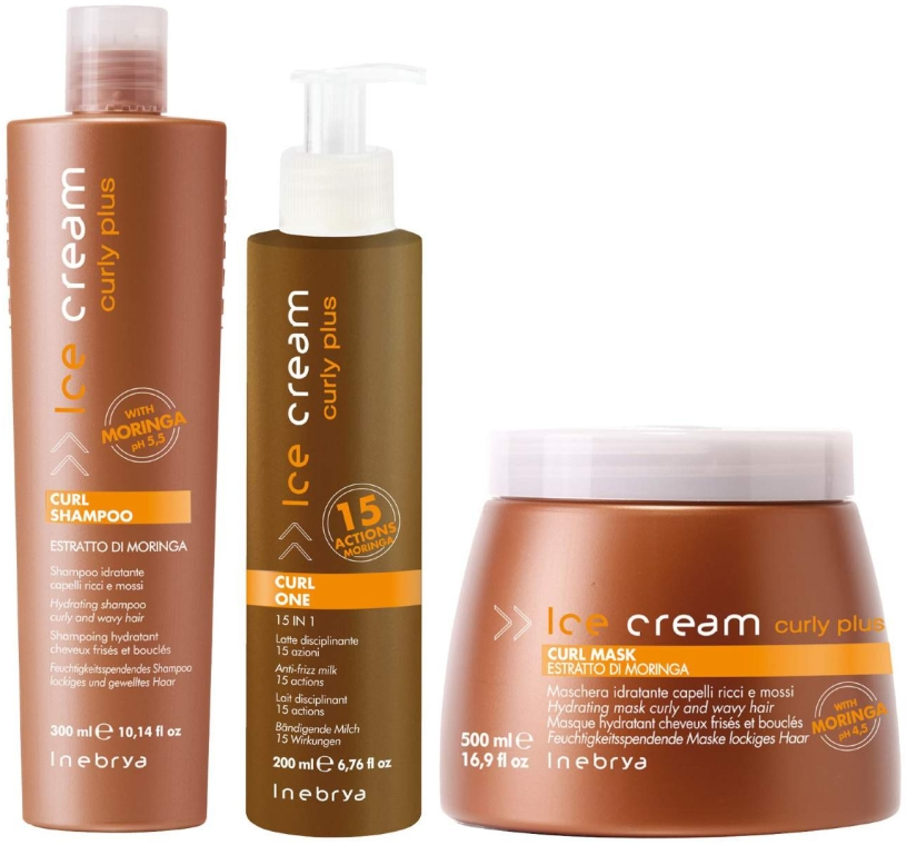 Набор для вьющихся волос - Inebrya Ice Cream Curl Kit (mask/500ml+milk/200ml+shmp/300ml) — фото N1