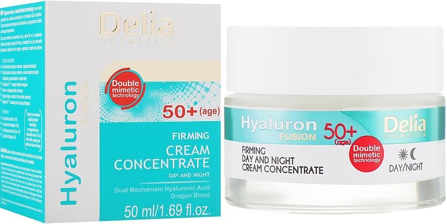 Крем концентрат с эффектом лифтинга 50+ - Delia Hyaluron Fusion Anti-Wrinkle-Lifting Day and Night Cream Concentrate 50+