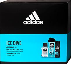Парфумерія, косметика Adidas Ice Dive - Набір (ash/lot/50ml + deo/150ml + sh/gel/250ml)