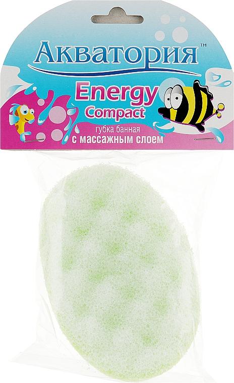 """Губка банная """"Energy Compact"""" с массажным слоем, салатовая - Акватория"""