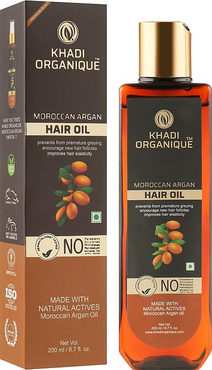 Натуральное марокканское аргановое масло для укрепления и блеска волос - Khadi Organique Moroccan Argan Oil