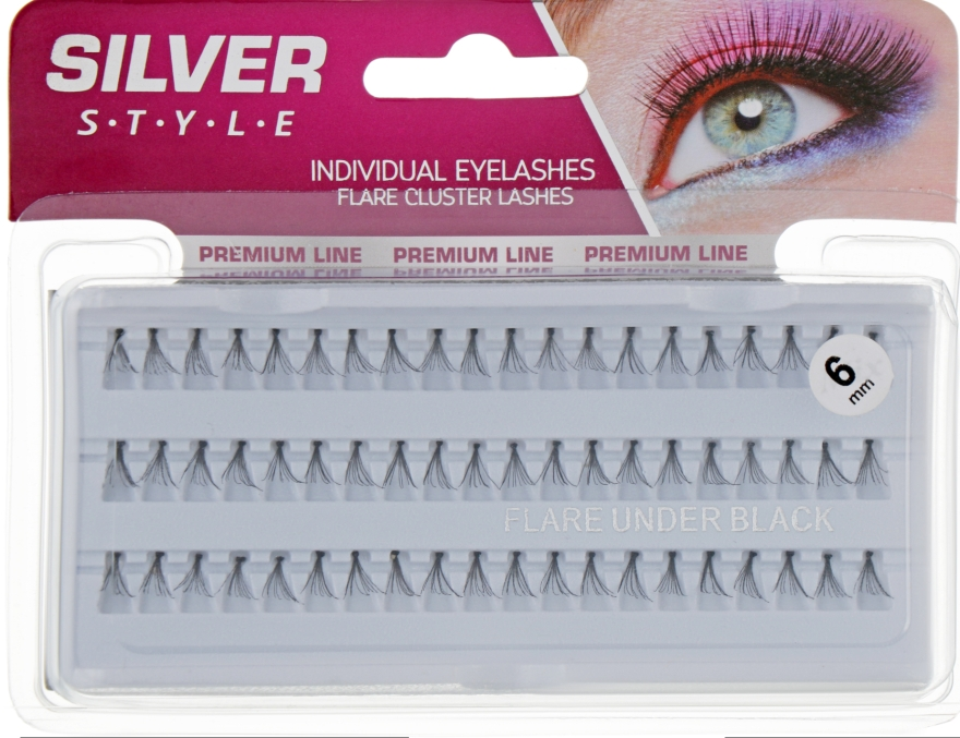 Ресницы пучковые 6мм, МН 240 - Silver Style Premium Line Individual Eyelashes Mix
