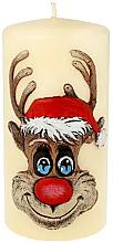 """Духи, Парфюмерия, косметика Декоративная свеча """"Рудольф"""", кремовая, 7х10см - Artman Christmas Candle Rudolf"""