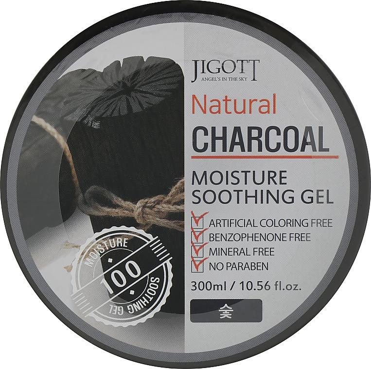 Универсальный гель для лица и тела с древесным углём - Jigott Natural Charcoal Moisture Soothing Gel