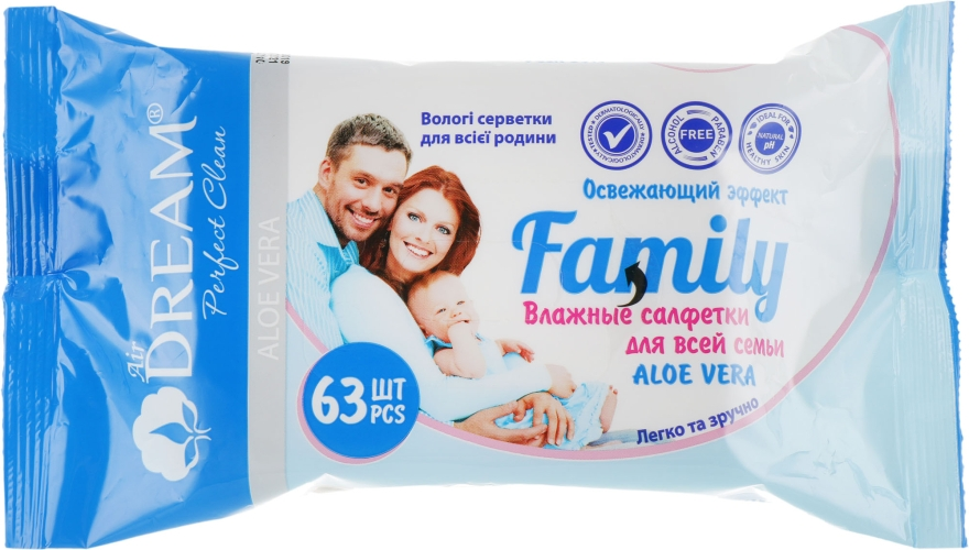 Влажные салфетки для всей семьи, 63 шт. - Air Dream Family Aloe Vera