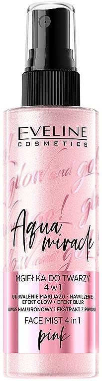 Фиксирующая дымка с эффектом сияния 4в1 - Eveline Cosmetics Glow And Go! Aqua Miracle Face Mist 4in1 Pink