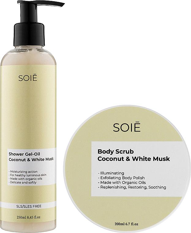 Набор - Soie Coconut & White Musk S (show/gel/250ml + b/scrub/200ml)