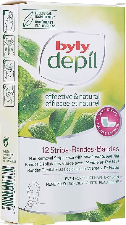"""Восковые полоски для лица """"Мята и зеленый чай"""" - Byly Depil Mint And Green Tea Hair Removal Strips Face"""