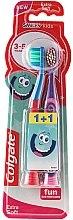 """Духи, Парфюмерия, косметика Детская зубная щетка """"Smiles"""", 3-5 лет, экстрамягкая, красно-голубая+розово-фиолетовая - Colgate Smiles Kids Extra Soft"""