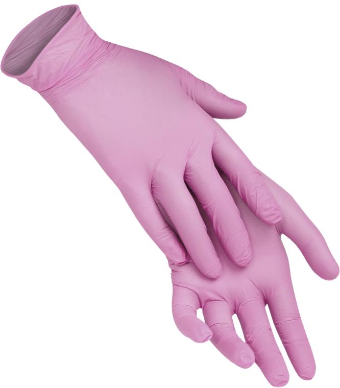 Одноразовые перчатки нитриловые без пудры, размер L, розовые - XoKo