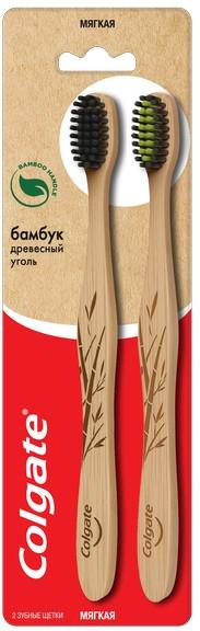 Черная зубная щетка «Бамбук. Древесный уголь», мягкая, 2 шт. - Colgate Bamboo