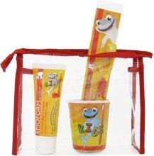 Духи, Парфюмерия, косметика Детский набор по уходу за зубами, красный - Dr. Wild Emoform Actifluor (tpst/75ml + tbrsh/1 + cup/1)