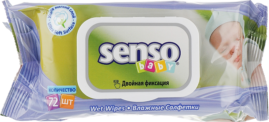 Салфетки влажные с клапаном, 72 шт - Senso Baby