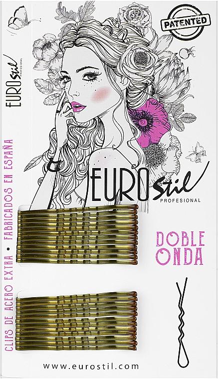 Невидимки для волос 50 мм, 24 шт., 04934, коричневые - Eurostil