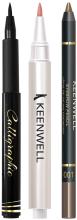 Духи, Парфюмерия, косметика Набор (eyeliner/2g + ser/2,5g + eyebrow pencil/1,5g) - Keenwell Pack Calligraphic & Serum Gloss & Eyebrow Pencil