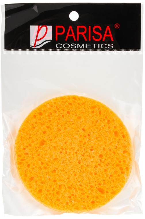 Губка для умывания С-13, круглая большая, желтая - Parisa Cosmetics