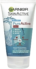 Духи, Парфюмерия, косметика Гель для умывания, маска, скраб для лица - Garnier Pure Active 3-in-1 Wash, Scrub and Mask