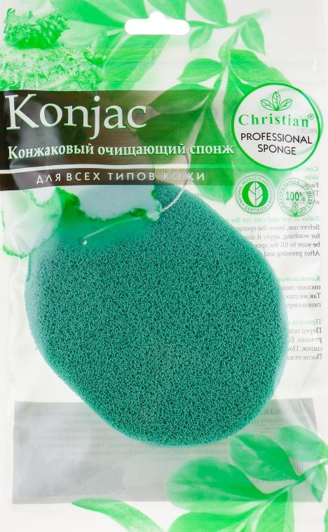 Конжаковый очищающий спонж с экстрактом зеленого чая, CSP-688 - Christian