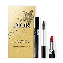 Духи, Парфюмерия, косметика Набор - Dior Diorshow Pump 'N' Volume HD Gift Set (mascara/6ml+lipstick/1.5g)