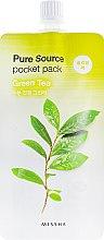Духи, Парфюмерия, косметика Маска для лица с зеленым чаем - Missha Pure Source Pocket Pack Green Tea