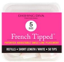 "Духи, Парфюмерия, косметика Типсы короткие ""Френч"" - Dashing Diva French Tipped Short White 50 Tips (Size-5)"