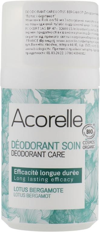 "Роликовый дезодорант-уход ""Лотос и Бергамот"" - Acorelle Deodorant Lotus Bergamote Roll On"