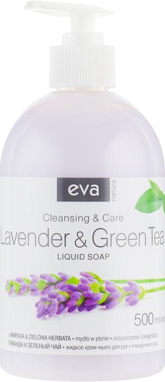 Жидкое крем-мыло для рук лаванда и зелёный чай, гипоаллергенное - Eva Natura