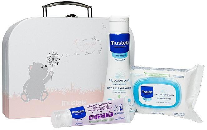 Набор - Mustela With Love Pink (wipes/25szt + b/gel/200ml + cr/50ml + bag)
