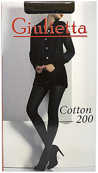 "Колготки для женщин ""Cotton"" 200 Den, nero - Giulietta"
