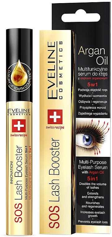 Комплексная сыворотка для ресниц с маслом аргании 5 в 1 - Eveline Cosmetics Sos Lash Booster
