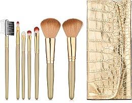 Духи, Парфюмерия, косметика Набор кистей для макияжа 7 шт в золотом чехле GD7 - Make Up Me